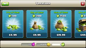 Click and easy: in-app purchases for Clash of Clans range from 99c to $99.